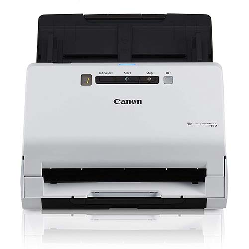 2. Canon imageFORMULA R40 Office Document Scanner For PC and Mac, Color Duplex Scanning, Easy Setup