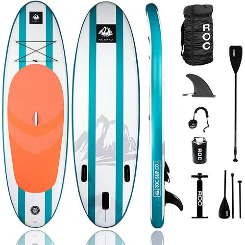 1. Roc Inflatable Stand Up Paddle Board W Free Premium SUP Accessories & Backpack, Youth & Adult