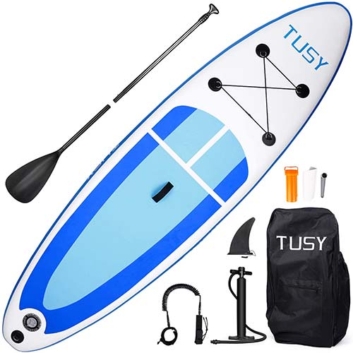 2. TUSY Inflatable Stand Up Paddle Board with SUP Accessories for Paddling Surf Boating