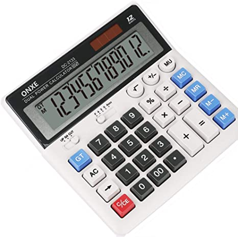 9. Calculator, ONXE Standard Function Electronics Desktop Calculators, Solar Dual Power, Big Button
