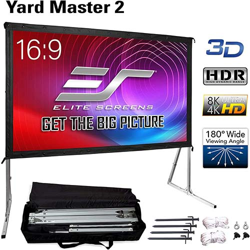 2. Elite Screens Yard Master 2, 120 inch Outdoor Projector Screen