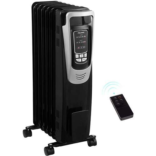 10. PELONIS Electric 1500W Oil Filled Radiator Heater with Safety Protection, LED Display, 3 Heat Settings and Five Temperature Settings
