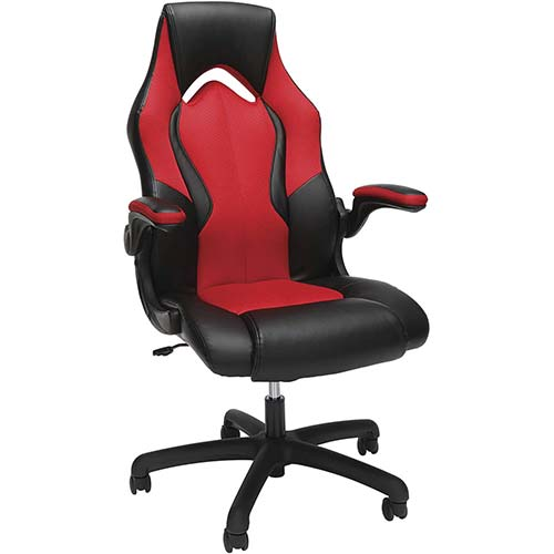 4. OFM Essentials Collection High-Back Racing Style Bonded Leather Gaming Chair (ESS-3086-RED)