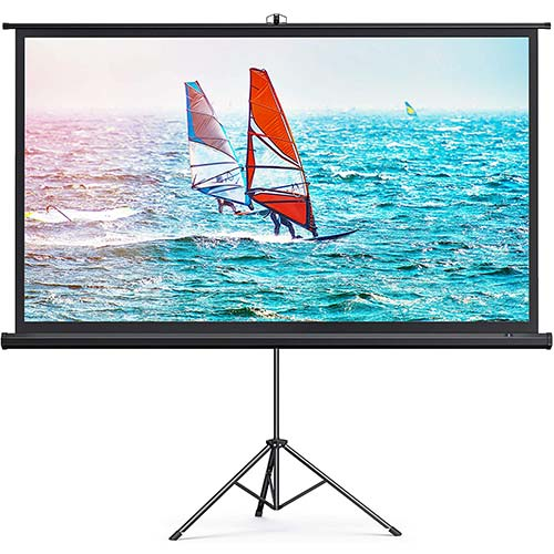 3. TaoTronics Projector Screen with Stand,Indoor Outdoor PVC Projection Screen 4K HD 100'' 16: 9 Wrinkle-Free Design