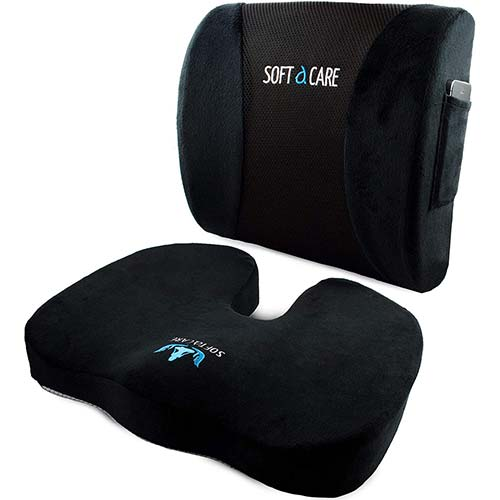 5. SOFTaCARE Seat Cushion Coccyx Orthopedic Memory Foam and Lumbar Support Pillow