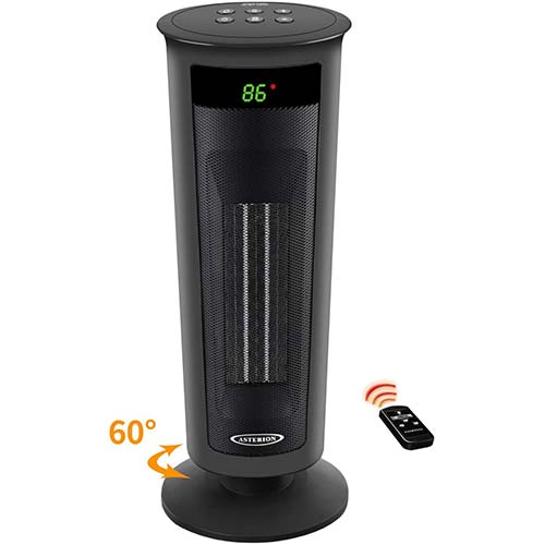 6. ASTERION Indoor Electric Space Heater, Portable Oscillating Ceramic Heater with Adjustable Thermostat
