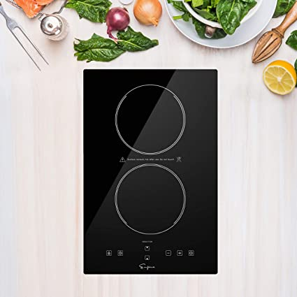 6. Empava Electric Stove Induction Cooktop Vertical with 2 Burners Vitro Ceramic Smooth Surface Glass in Black 120V