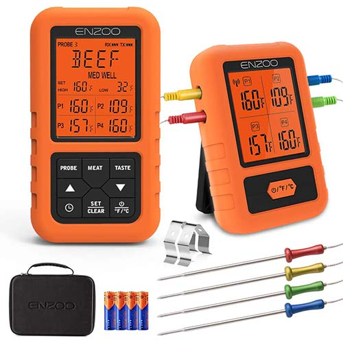 3. ENZOO Wireless Meat Thermometer for Grilling, Ultra Accurate & Fast Digital Meat Thermometer