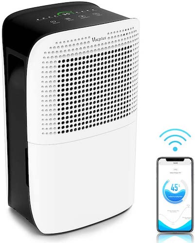 6. Vacplus 50 Pints Dehumidifier with WiFi Remote for Large Rooms