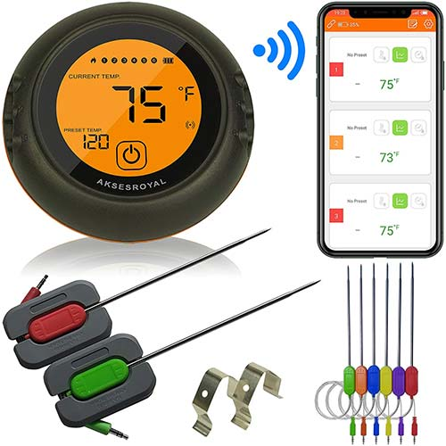 10. AKSESROYAL Wireless Meat Thermometer for Grilling, 6 Probes, Digital Cooking BBQ Bluetooth Thermometer