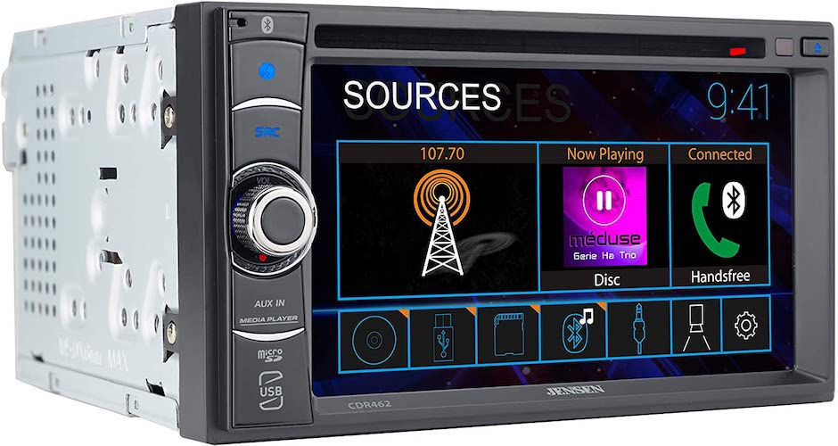 2.JENSEN CDR462 6.2 inch LED Multimedia Touch Screen Double Din Car Stereo|USB & microSD Ports