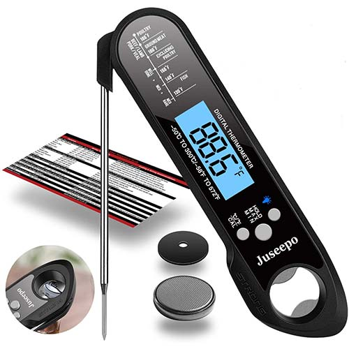 7. Juseepo Waterproof Digital Instant Read Meat Thermometer - Ultra Fast Thermometer