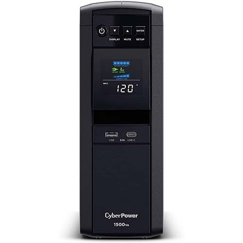2. CyberPower CP1500PFCLCD PFC Sinewave UPS System, 1500VA/1000W, 12 Outlets, AVR, Mini Tower
