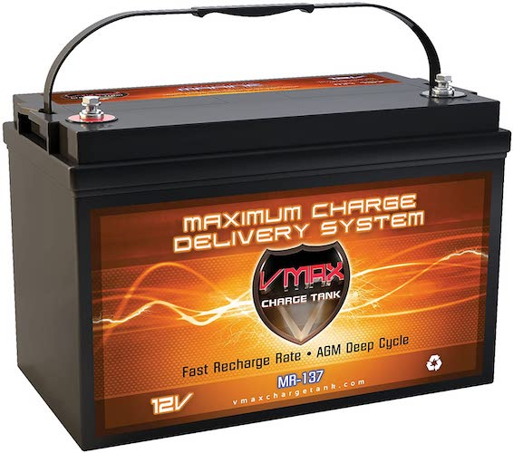2. VMAX MR137-120 12V 120Ah AGM Deep Cycle Marine Battery Compatible with Minn Kota Terrova 55 12v 55lb Trolling Motor