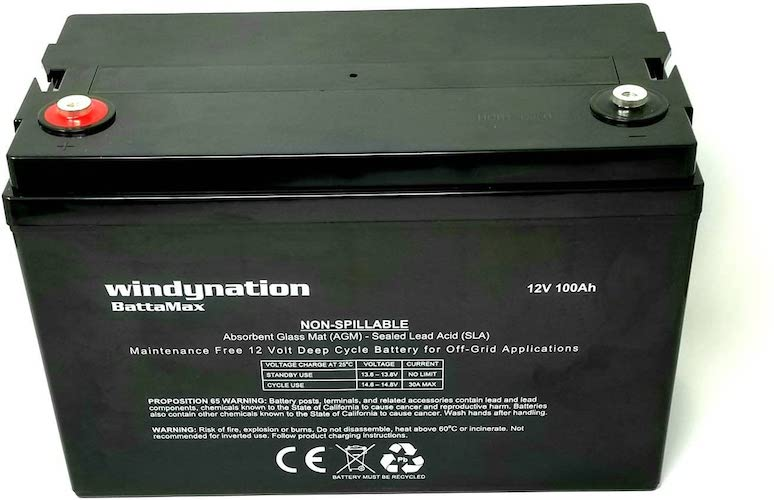 10. WindyNation 100 amp-Hour 100AH 12V 12 Volt AGM Deep Cycle Sealed Lead Acid Battery - Solar RV UPS Off-Grid