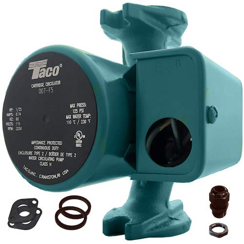 7. Taco 007-F5 Cast Iron Circulator, 1/25 HP Pump with Universal Pump Flange Gaskets and Wire Gland