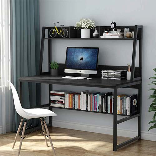 2. Tribesigns Computer Desk with Hutch and Bookshelf, 47 Inches Home Office Desk