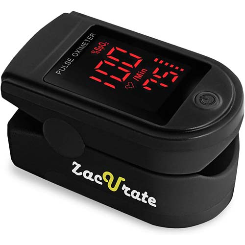 1. Zacurate Pro Series 500DL Fingertip Pulse Oximeter Blood Oxygen Saturation Monitor with Silicon Cover, Batteries and Lanyard