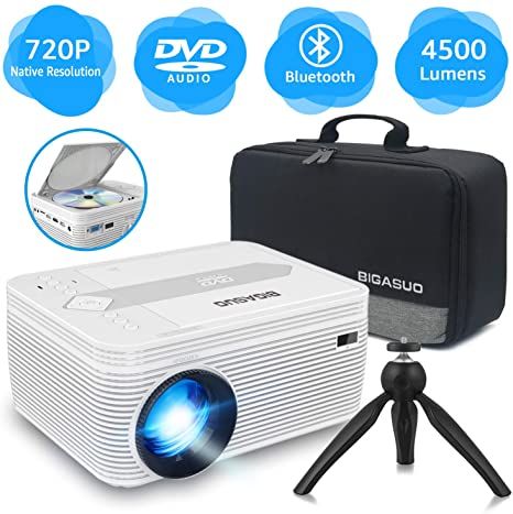 1. BIGASUO [2020 Upgrade] Bluetooth Full HD Projector Built in DVD Player