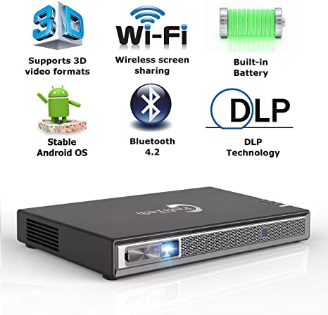 7. Mini Projector Portable 3D DLP-Link Smart Video for iOS/Android Wireless Screen Sharing Support 4K 250 Ansi Lumens