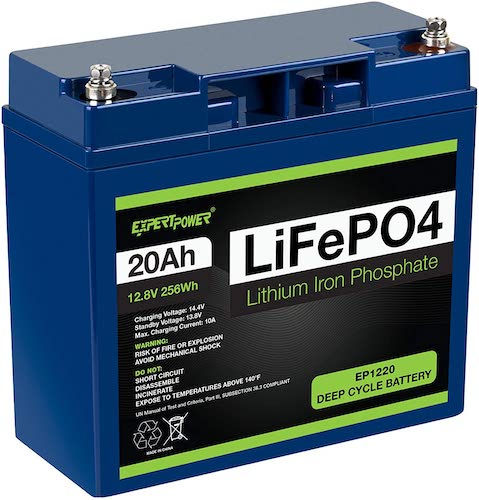 9. ExpertPower 12V 20Ah Lithium LiFePO4 Deep Cycle Rechargeable Battery | 2500-7000 Life Cycles