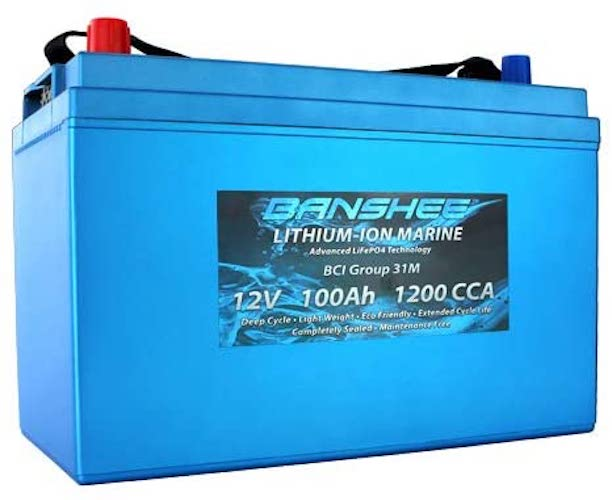 8. Banshee LiFeP04 Deep Cycle Battery 100Ah 12V With Built-In BMS - Perfect for RV Camper, Marine, Trolling