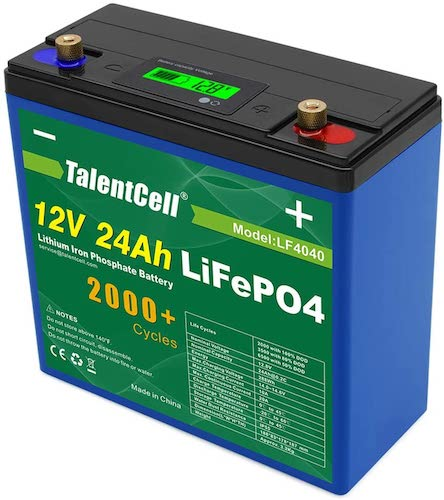 4. TalentCell 2000 Cycles Rechargeable 12V 24Ah 288Wh Lithium Iron Phosphate (LiFePO4) Deep Cycle Battery Pack