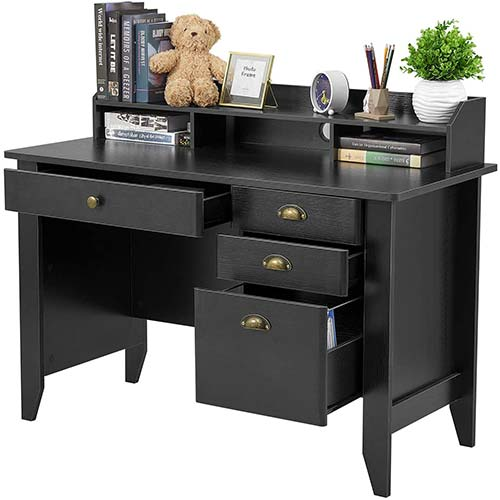 6. Computer Desk with 4 Drawers and Hutch Shelf, Home Office Desk Writing Sturdy PC Laptop Notebook Desk
