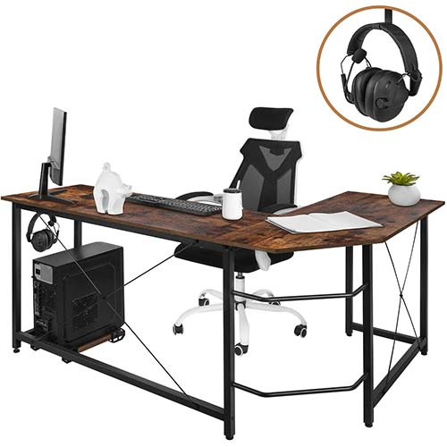10. AuAg Modern L-Shaped Home Office Desk with Iron Hook, 66 inch Sturdy Computer PC Laptop Table Corner Desk Workstation