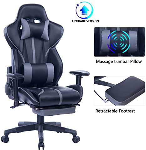 8. Blue Whale Gaming Chair with Adjustable Massage Lumbar Pillow, Retractable Footrest and Headrest
