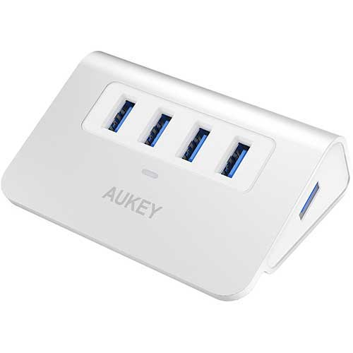 8. AUKEY USB Hub 3.0 Portable Aluminum 4 Port USB 3.0 Hub for Data Transfer with 3.3ft USB Cable