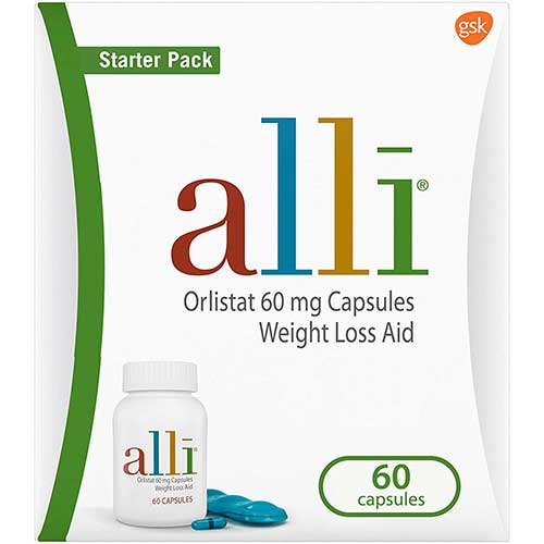 3. alli Weight Loss Diet Pills, Orlistat 60 mg Capsules, 60 Count Starter Pack
