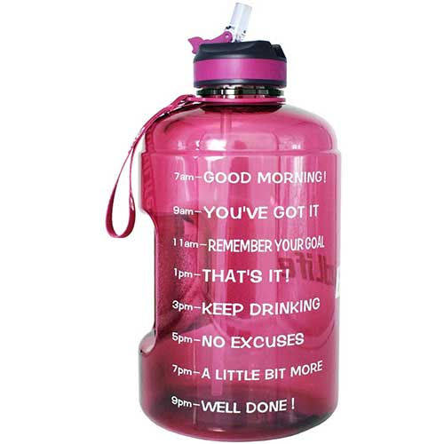 6. BuildLife Gallon Motivational Water Bottle Wide Mouth with Straw & Time Marked to Drink More Daily