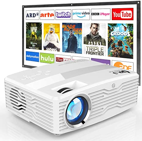 1. [Native 1080P Projector with 100Inch Projector Screen] 6800Lumens LCD Projector Full HD Projector Max 300