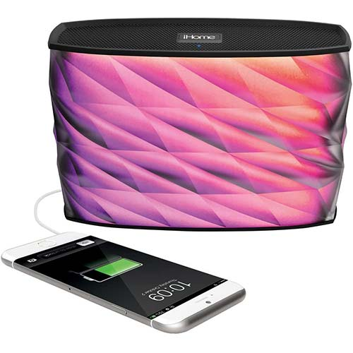 3. iHome iBT84 Portable Splashproof Color Changing 10 Hour Rechargeable Bluetooth Stereo Speaker