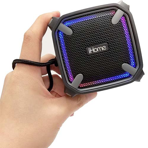 1. iHome Weather Tough Portable Rechargeable Bluetooth Speaker with Speakerphone and LED Accent Lighting (Mini)