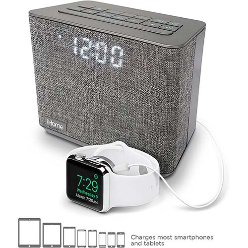 8. iHome iBT232 Bluetooth Dual Alarm FM Clock Radio with Speakerphone and USB Charging OPEN BOX