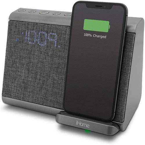 10. iHome iBTW39 Bluetooth Dual Alarm Clock with Wireless Charging, Speakerphone and USB Charging Port