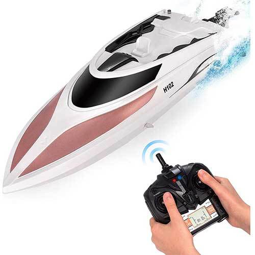 3. RC Boat - Remote Control Boat for Kids and Adults – 20 MPH Speed – Durable Structure – Innovative Features – Incredible Waves – Pool or Lake
