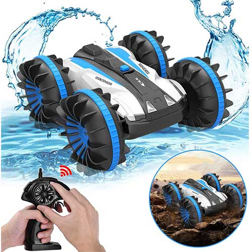 10. Pussan Car Toys for 5-12 Year Old Boys Amphibious Remote Control Car for Kids 2.4 GHz RC Stunt Car
