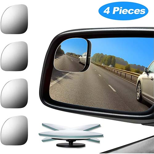 7. 4 Pieces Fan-Shaped Automobile Rear Blind Spot Mirror, 360 Degree Rotating Design, Automobile Side Mirror