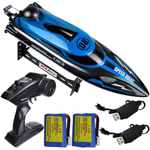 6. HONGXUNJIE 2.4Ghz High Speed RC Boat-HJ808 18mph Remote Control Racing Boat for Kids and Adults