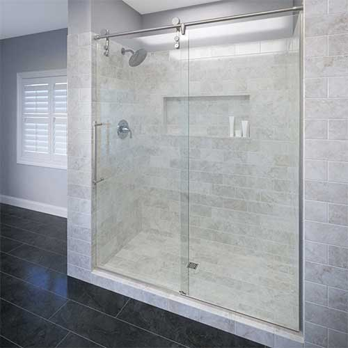3. Basco Rolaire Frameless Shower Door, Fits 57 - 59 in Opening, Clear Glass, Brushed Stainless Steel Finish