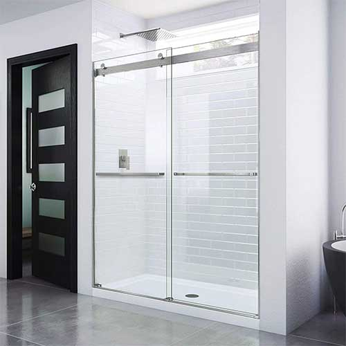 2. DreamLine Essence 56-60 in. W x 76 in. H Frameless Bypass Shower Door in Brushed Nickel, SHDR-6360760-04