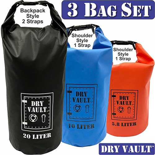 10. 3 Bag Set - DRY VAULT – DRY BAG SETS – 500D PVC Tarpaulin – 20L, 10L, 5.8L with shoulder straps