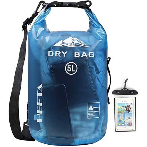 2. HEETA Waterproof Dry Bag for Women Men, Roll Top Lightweight Dry Storage Bag Backpack with Phone Case