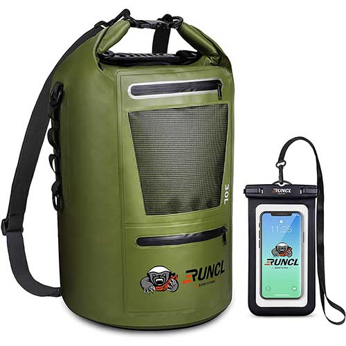 9. RUNCL Waterproof Dry Bag ANCOHUMA, Dry Compression Sack 10/20/30/40L, Dry Backpack with Waterproof Phone Case