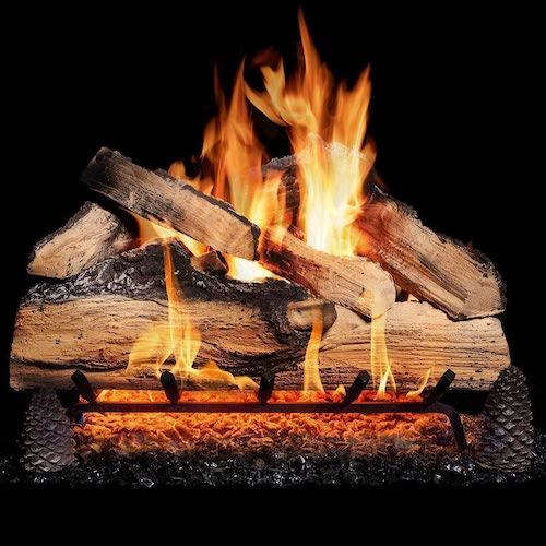 3.BBQGUYS 24 Inch Grand Mountain Split Oak Vented Natural Gas Log Set + H-Burner - Match Light