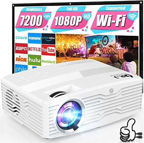 2. WiFi Projector [Full HD Native 1080P] DR. J Professional 7200Lumens Projector for Outdoor Movies