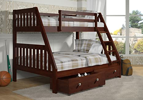 6. DONCO Bunk Bed Twin over Full Mission Style-Dark Cappuccino Finish-Includes Drawers!!!